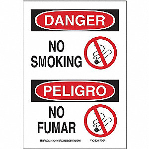 Danger No Smoking Sign,14 x 10In,SURF