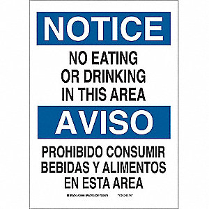 Notice Sign,14 x 10In,BL and BK/WHT,Text