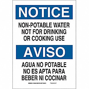 Notice Sign,20 x 14In,BL and BK/WHT,Text