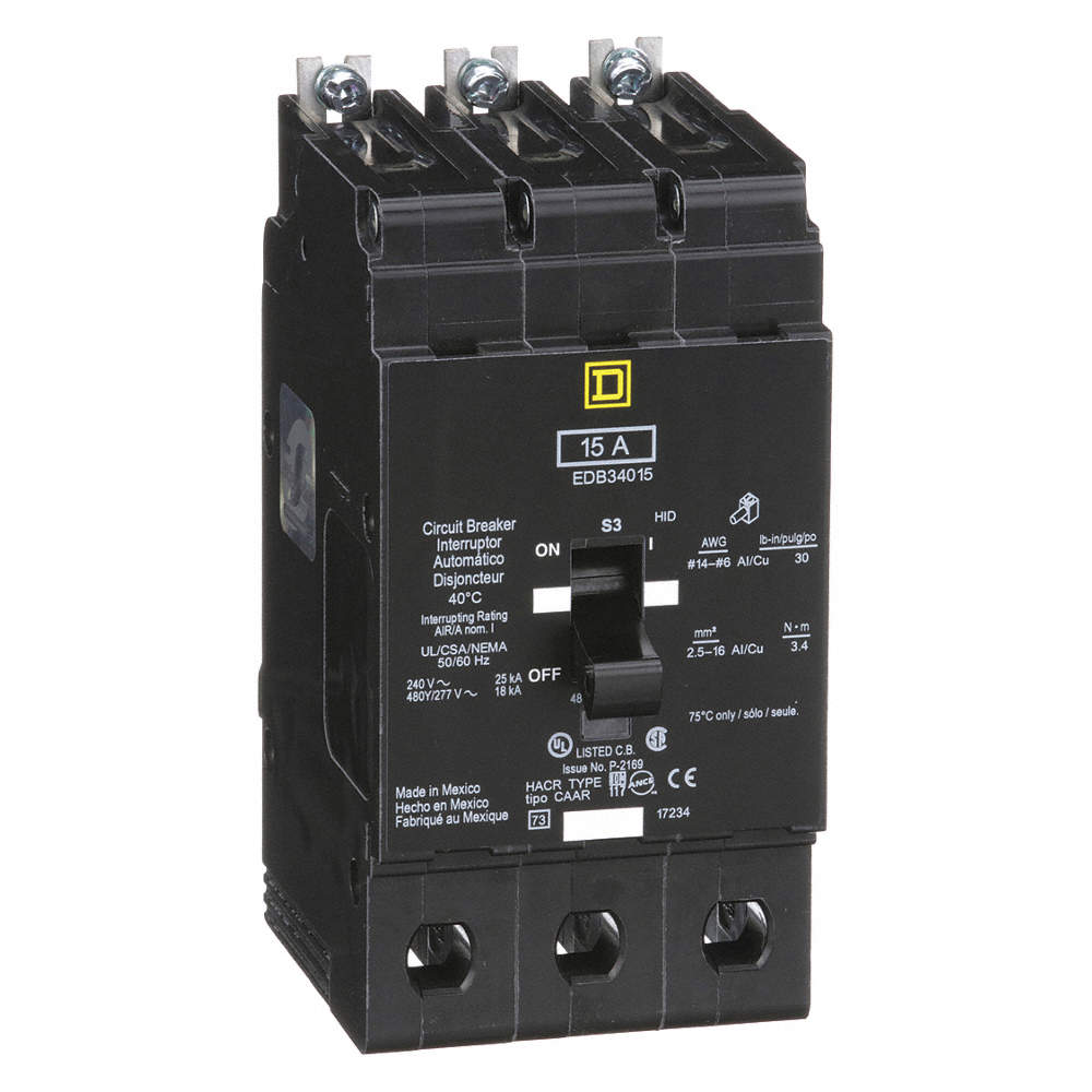 SQUARE D Bolt On Circuit Breaker, 15 Amps, Number of Poles: 3, 277 ...