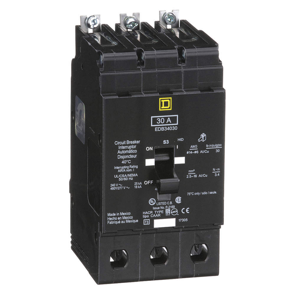 SQUARE D Bolt On Circuit Breaker, 30 Amps, Number of Poles: 3, 277 ...