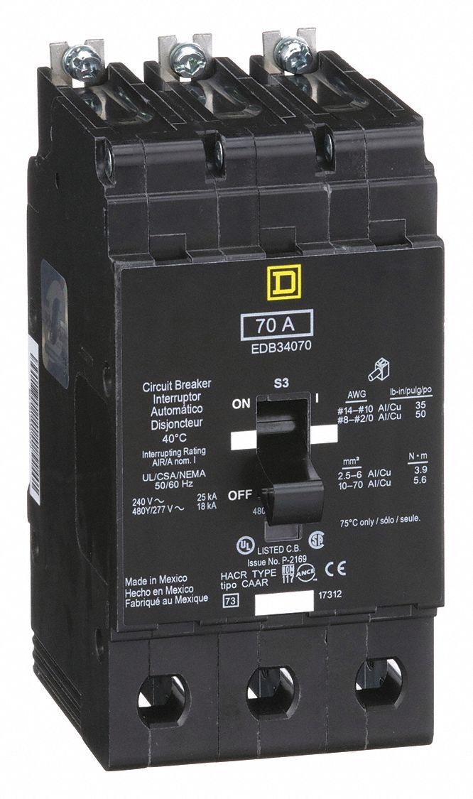 Square D EDB34070 E-Frame 3-Pole 227V Mini Circuit Breaker for sale online