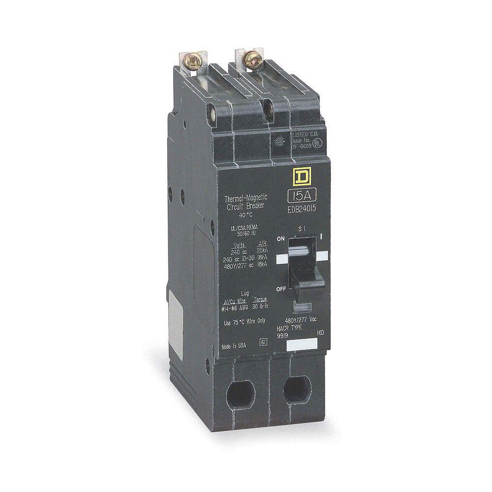 SQUARE D Bolt On Circuit Breaker, 15 Amps, Number of Poles: 2, 277 ...