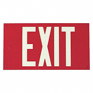 Exit Sign,8-1/4 x 15In,YEL/RED,Exit,ENG