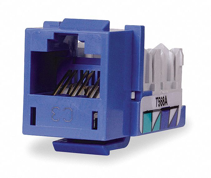 Modular Jack, Blue, Plastic, Series: Standard, Cable Type: CAT6