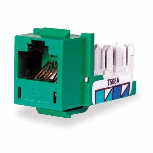 HUBBELL PREMISE WIRING Modular Jack, Green, Plastic, Series: Standard,  Cable Type: CAT6 - 3TY67 HXJ6GN - GraingerGrainger
