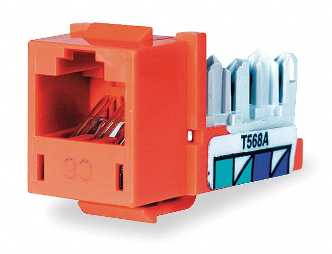 Modular Jack, Orange, Plastic, Series: Standard, Cable Type: CAT6
