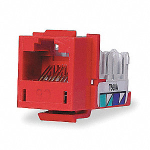 Modular Jack, Red, Plastic, Series: Standard, Cable Type: Category 6