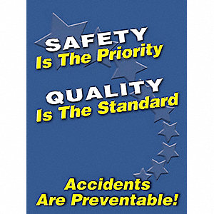 "Safety Poster, English, 24"" x 18"", 1 EA"