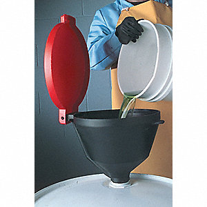 Drum Funnel with Lid,13 3/8,with Spout