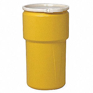 Transport Drum,Open Head,20 gal.,Yellow
