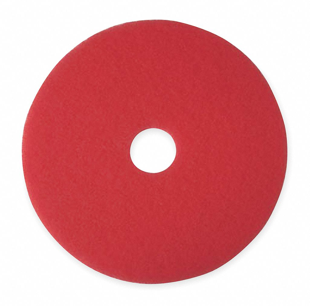 20 in Non-Woven Polyester Fiber Round Buffing and Cleaning Pad, 175 to 600 rpm, Red, 5 PK