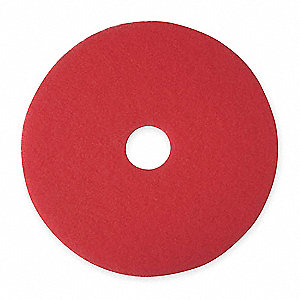 "17"" Red Buffing and Cleaning Pad, Non-Woven Polyester Fiber, Package Quantity 5"