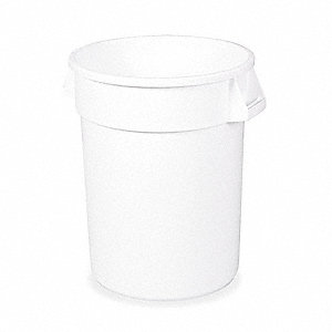 "BRUTE® 32 gal. Round Open Top Trash Can, 27-1/4""H, White"