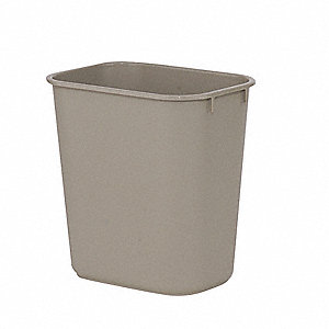 "3 gal. Rectangular Open Top Utility Wastebasket, 12-1/8""H, Beige"