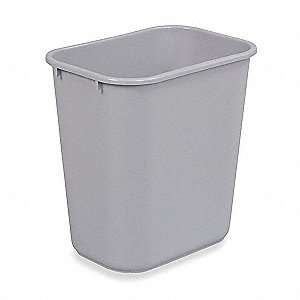 "7 gal. Rectangular Open Top Utility Wastebasket, 15""H, Gray"