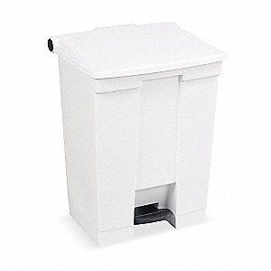 18 gal. Rectangular White Trash Can