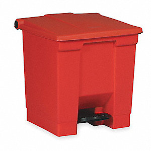 18 gal. Rectangular Red Trash Can