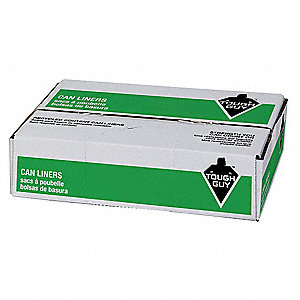 40 to 45 gal. Linear Low Density Polyethylene Recycled Can Liner, Flat Pack, Black, 100PK