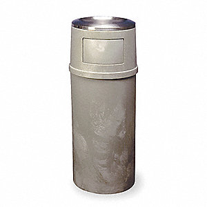 "25 gal. Round Ash Top / Side Opening Decorative Ash/Trash Can, 42-1/4""H, Beige"