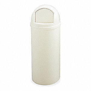 "Marshal 15 gal. Round Dome Top Utility Trash Can, 36-1/2""H, White"