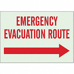 Emergency Evacuation Route Sign,7 x 10In