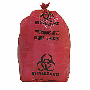 BIOHAZARD BAG,RED,5 GAL.,PK 200