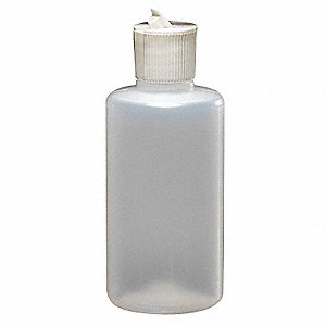 Narrow Mouth Round Dispensing Bottle, Dispensing, Plastic, 250mL, Clear, 10 PK