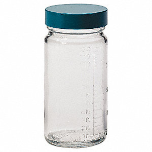 Wide Mouth Round Beaker Bottle, Sampling, Glass, 30mL, Clear, 48 PK