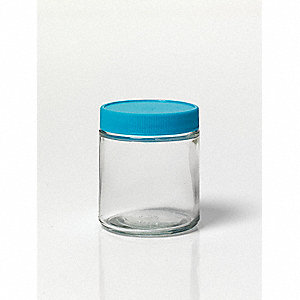 Wide Mouth Straight Side Round Precleaned Jar, Sampling, Glass, 120mL, Clear, 24 PK