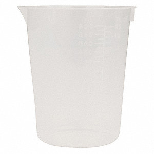 Disposable Beaker, Polypropylene, Capacity: 600mL, Graduation Subdivisions: 25mL