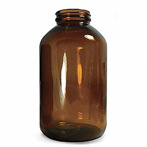 Wide Mouth Round Bottle, Sampling, Glass, 950mL, Amber, 12 PK
