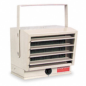 Electric Utility Heater, 208/240VAC, kW 5.0/2.5, 3.7/1.8, BtuH 17,065/14,215, 12,800/6396