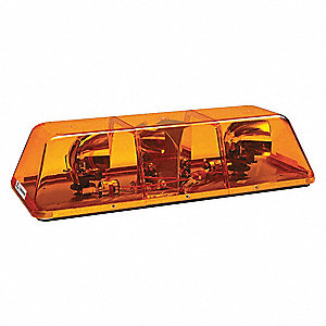 Amber Mini Lightbar, Halogen Lamp Type, Magnetic Mounting, Number of Heads: 2