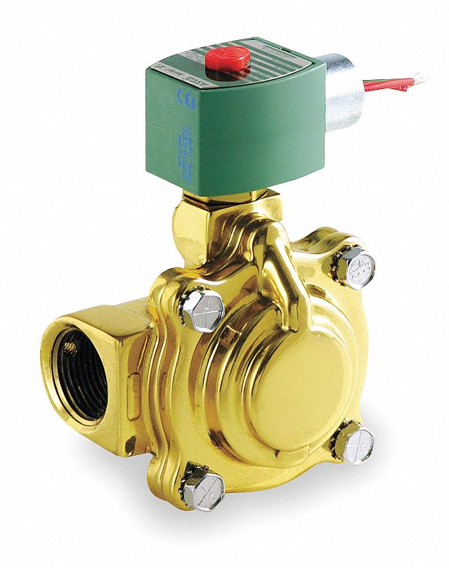 "120V AC Brass Solenoid Valve, Normally Closed, 1"" Pipe Size"