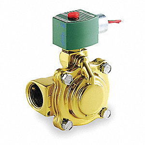 "120VAC Brass Solenoid Valve, Normally Closed, 1-1/4"" Pipe Size"
