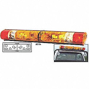 Amber/Red/Clear Lightbar, Strobe Lamp Type, Permanent Mounting, Number of Heads: 8