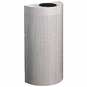 12 gal. Half-Round Beige Fire-Resistant Trash Can