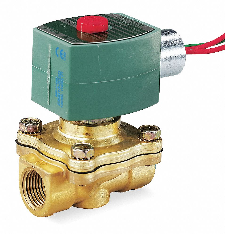 "120V AC Brass Solenoid Valve, Normally Closed, 1/2"" Pipe Size"