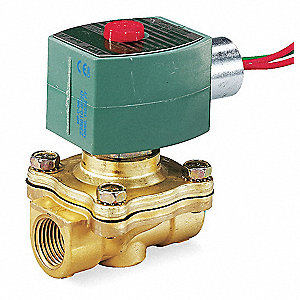 "120VAC Brass Solenoid Valve, Normally Closed, 3/4"" Pipe Size"