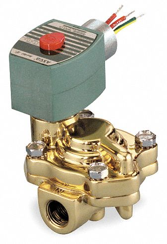 "120V AC Brass Slow Closing Solenoid Valve, Normally Closed, 3/4"" Pipe Size"