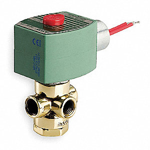 "110/120VAC Brass Quick Exhaust Solenoid Valve, Normally Closed, 1/8"" Pipe Size"