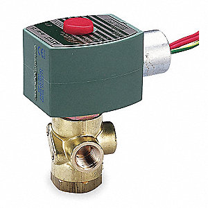 "120VAC Brass Quick Exhaust Solenoid Valve, Normally Closed, 1/4"" Pipe Size"
