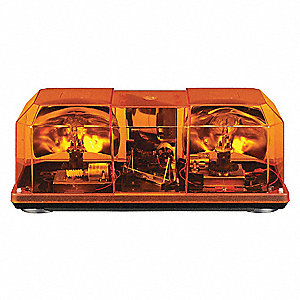 Amber Strobe Mini Lightbar, Strobe Lamp Type, Magnetic Mounting, Number of Heads: 2