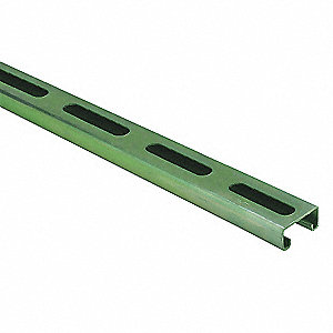 SLOTTED CHANNEL,10 FT,13/16 IN D,GR
