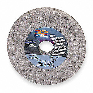 "7"" Type 1 Aluminum Oxide Straight Grinding Wheel, 1-1/4"" Arbor, 1/2"" Thick, 60 Grit, 3600 Max. RPM"