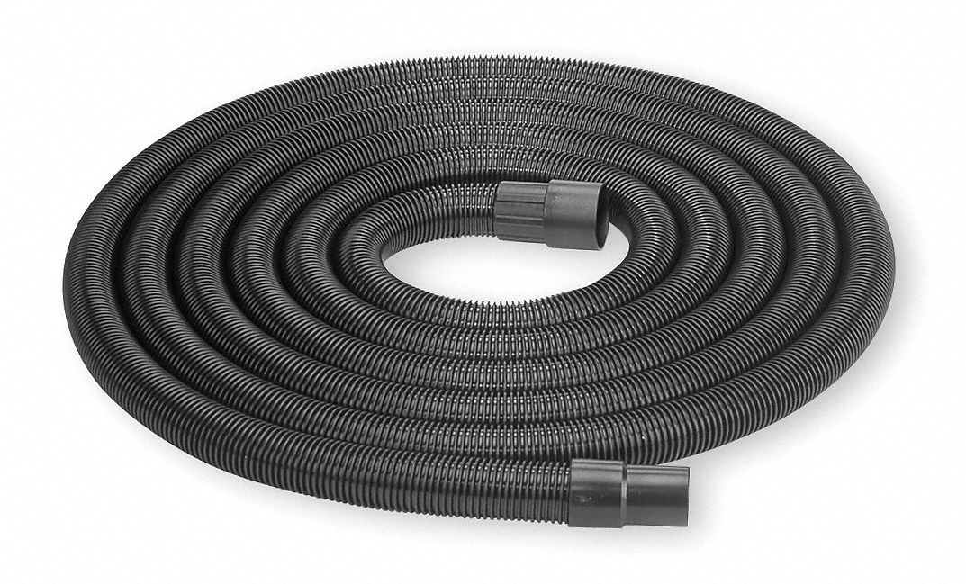 Crush-Resistant Vacuum Hose,  1 1/2 in Hose Dia.,  12 ft Hose Length,  Plastic,  Black