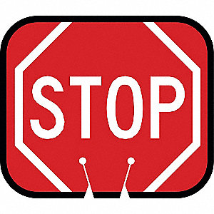 Traffic Cone Sign,Red w/White,Stop