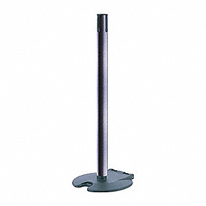 "Single Belt Receiver Post, Polycarbonate Post Material, Wheeled Base Type, 39"" Height"