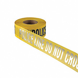 "Barricade Tape, Yellow, 3"" x 1000 ft., Police Line Do Not Cross"